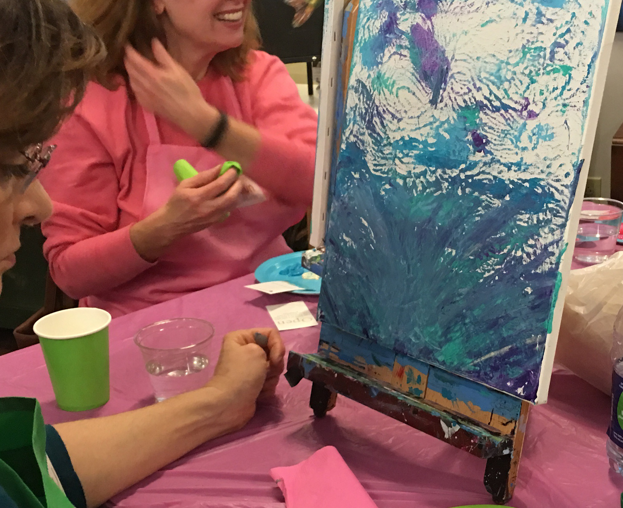 Abstract painting party in studio 127 at Lowe Mill.