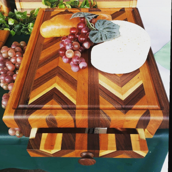 Cutting Board Storage Drawer,  Chevron pattern Cherry and black walnut
