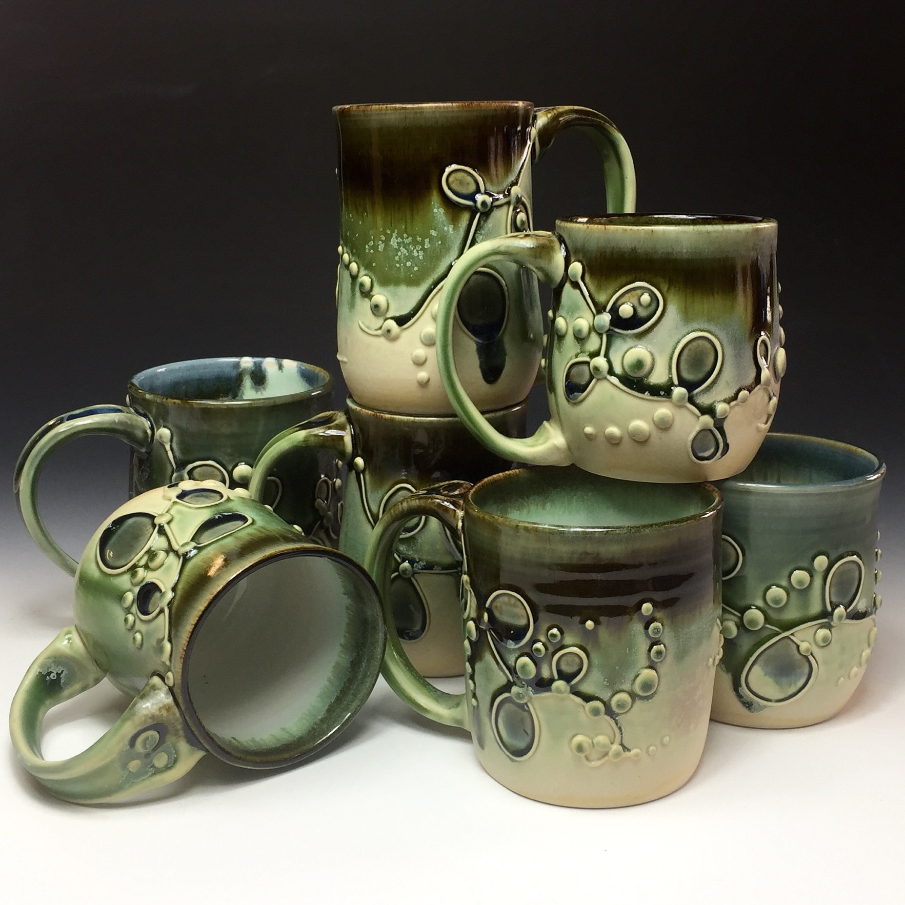 Coffee cups, made by hand.