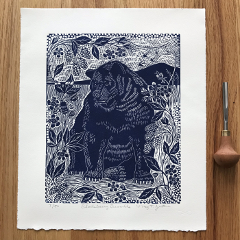 """BlackBerry Bramble"" handcarved and handprinted linocut print."