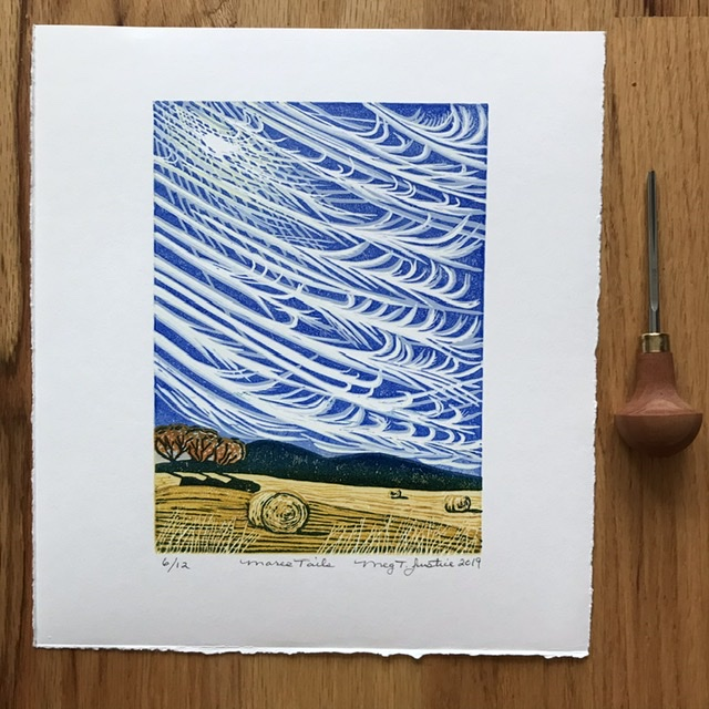 """""""Mares Tails"""" A 9-color handprinted reduction linocut print. Limited edition of 12"""
