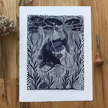 """RiverKeeper"" handcarved and handprinted linocut print. Limited edition"