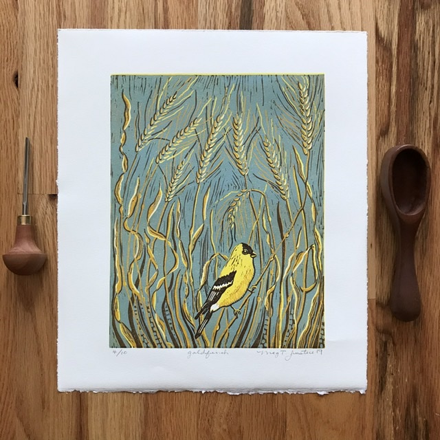 """Goldfinch"" A 5-color handprinted reduction linocut print. Edition of 10 pieces"