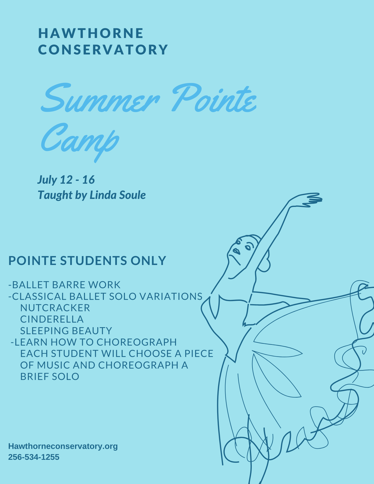 Pointe Students Only! We will be working on ballet barre work while studying Classical Ballet Solo Variations from Nutcracker, Cinderella and Sleeping Beauty. Learn how to choreograph! Each student will choose a piece of music and choreograph a brief solo.