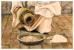 Living Water /Oil Painting/ Jesus in the upper room pouring water into a basin.