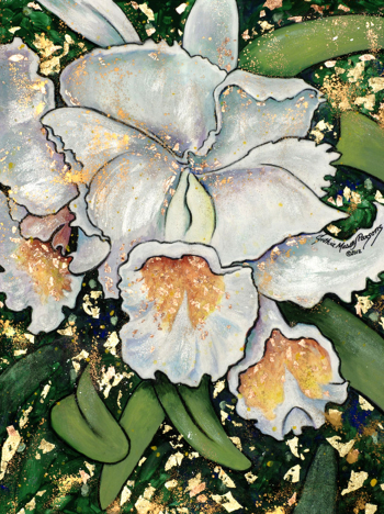 White Orchid, Mixed Media on Canvas