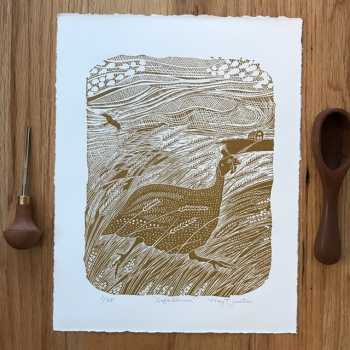"""""""Safe Haven"""" handcarved and handprinted linocut print, limited edition"""
