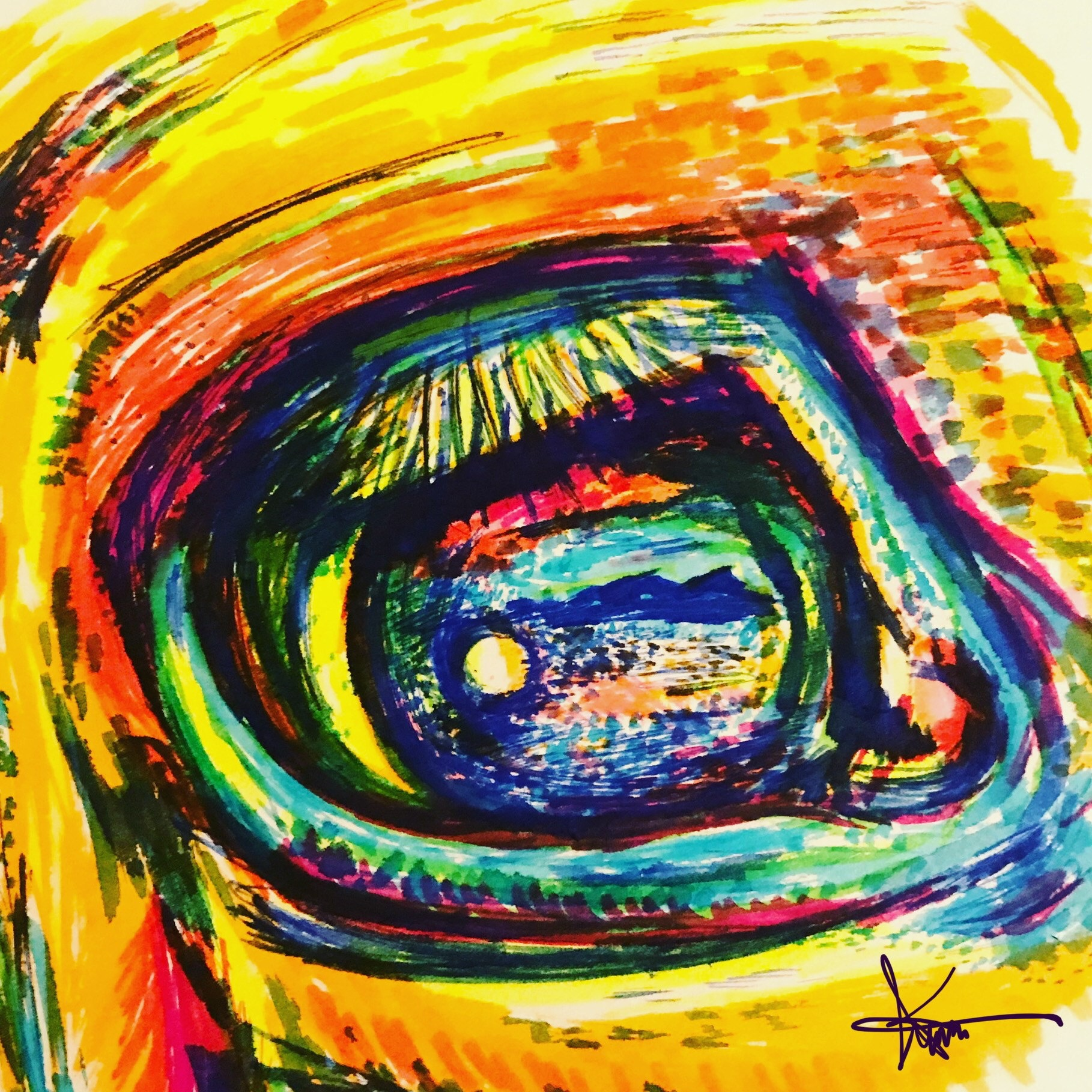 Drawing with Sharpie highlighters and digitally enhanced with graphic design.