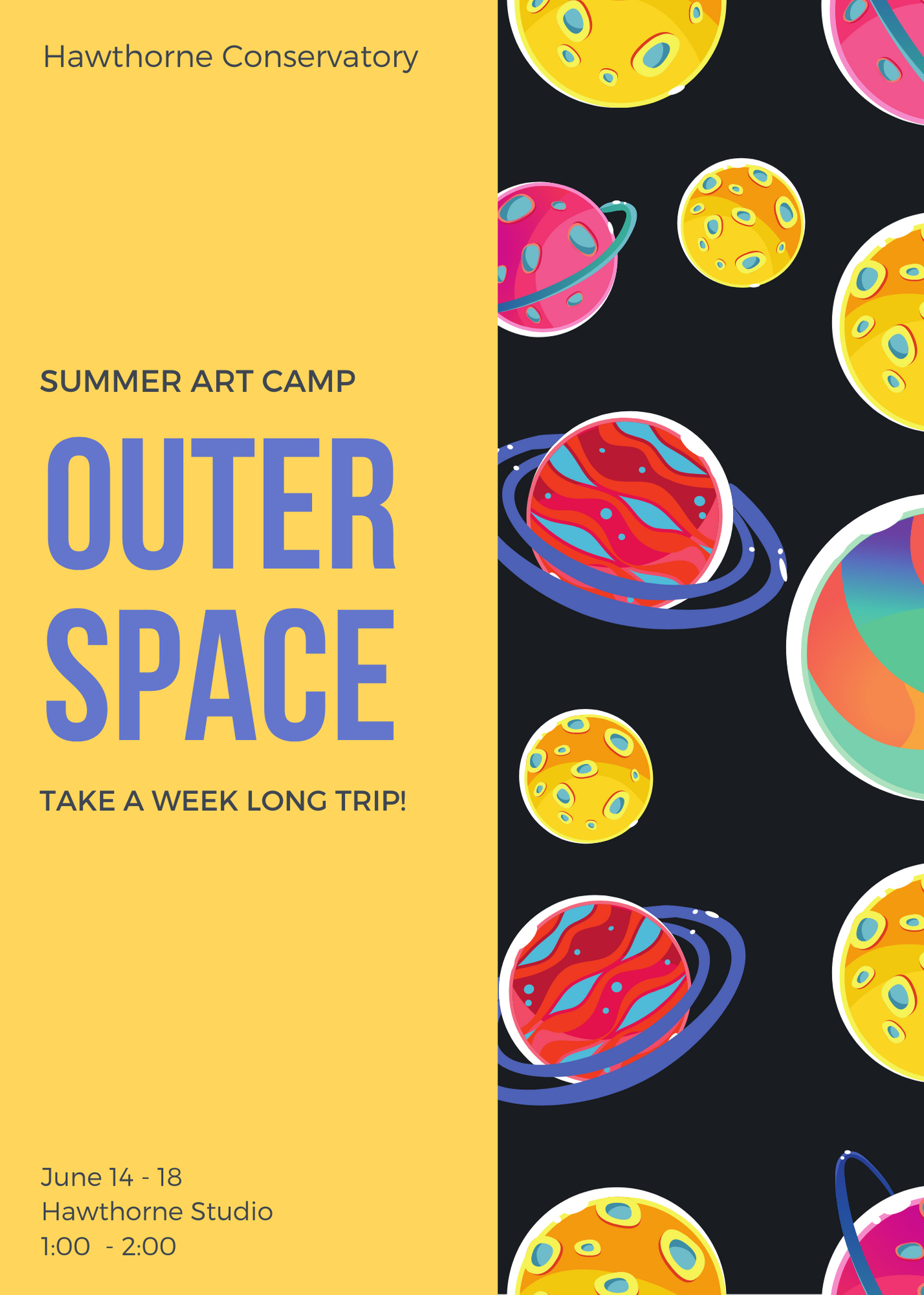 """Take a week long trip to Outer Space! The Galaxy-Themed Art Pieces we will create will be out of this World! Learn amazing things about Outer Space and design fun projects using different types of virtual arts media including acrylic & tempura paint, print photography, canvas, oil pastels, """"Galaxy Slime"""" and more! This Art Camp is for grades 1 - 6."""