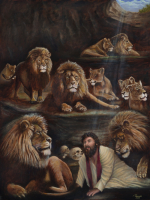 """The power of Prayer/ Oil Painting/ inspired by the Bible story of Daniel. Praying to the one and only living God was looked down on in those days much like it is among some today. Prayer got him into trouble and prayer most certainly got him out. """"What shall we then say to these things? If God be for us, who can be against us?"""" Romans 8:31"""